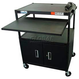 Buhl Audio Visual Security Cart with Adjustable Height Pull-Out Shelf