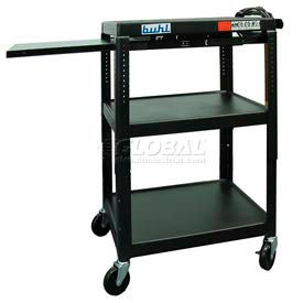 Buhl Audio Visual Cart with One Side Pull-Out Shelf
