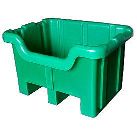 Bayhead MBF-1Green Hopper Front Plastic Container 28x20x18 300 Lb Cap. Green