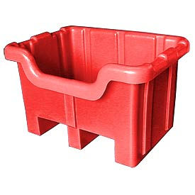 Bayhead MBF-2RED Hopper Front Plastic Container 41x37x32 1000 Lb Cap. Red