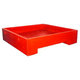 Bayhead DWP-11RED Stacking Plastic Container 45x45x11 600 Lb Cap. Red