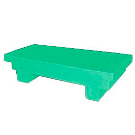 Bayhead EW-4GREEN Low-Profile Container With Lid 33-1/2x17x8-1/2 300 Lb Cap. Green