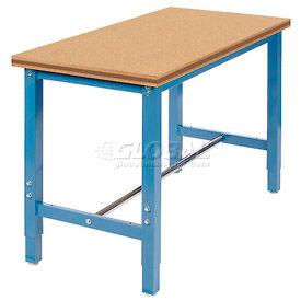 "48""W x 24""D Production Workbench Return - Shop Top Square Edge Bench - Blue"