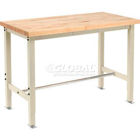 "48""W x 24""D Production Workbench Return - Maple Butcher Block Square Edge - Tan"