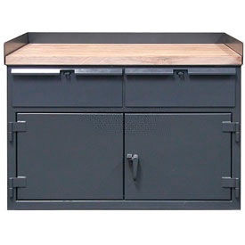 Strong Hold 50 x 30 Cabinet Workbench with Maple Top & Drawers