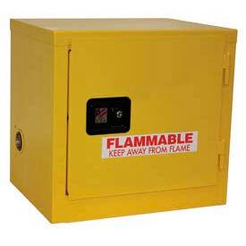 "Global™ Slim Flammable Cabinet BA06YP - Manual Close Single Door 6 Gallon - 23""W x 18""D x 22""H"