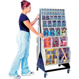 """Quantum Mobile Tip Out Bin Floor Stand QFS248-76+QFS400- Double Sided 48"""" H Ivory"""
