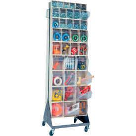 """Quantum Mobile Tip Out Bin Floor Stand QFS270-72+QFS400- Double Sided 70"""" H Ivory"""
