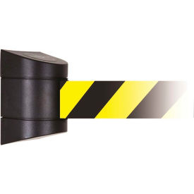 Tensabarrier Safety Crowd Control, Magnetic Mount Barrier, Blk W/ 15' Black/Yellow Retractable Belt