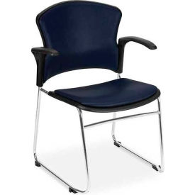 Multiuse Vinyl Seat & Back Stacker With Arms - Navy - Pkg Qty 4