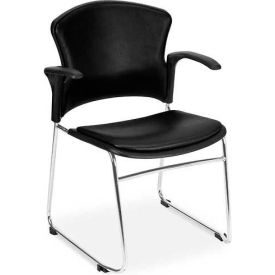 Multiuse Vinyl Seat & Back Stacker With Arms - Black - Pkg Qty 4