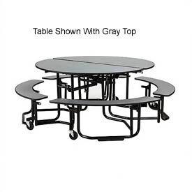 KI Uniframe Mobile Cafeteria Table Round - White Nebula Top - Black Frame