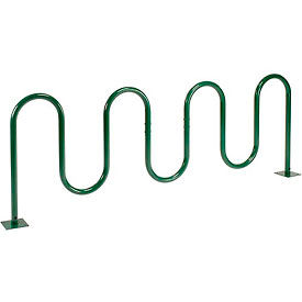 9-Bike Wave Bike Rack, Green, Flange Mount
