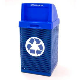 Recycling Trash Can with Push Door Lid & Logo - Blue