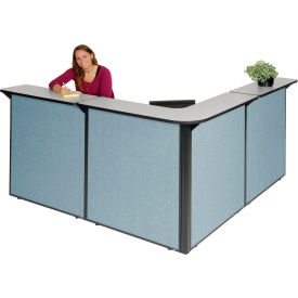 Gray Counter, Blue Panel L-Shaped Reception Station