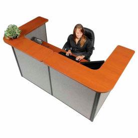 "U-Shaped Reception Station, 88"" W x 44""D x 44""H, Cherry Counter, Gray Panel"