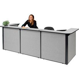 "U-Shaped Reception Station, 124""W x 44""D x 44""H, Gray Counter, Gray Panel"