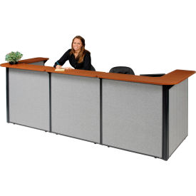 "U-Shaped Reception Station, 124""W x 44""D x 44""H, Cherry Counter, Gray Panel"