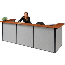 "U-Shaped Reception Station, 124""W x 44""D x 44""H, Cherry Counter, Gray Panel"
