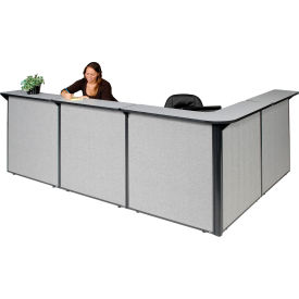 """L-Shaped Reception Station, 116""""W x 80""""D x 44""""H, Gray Counter, Gray Panel"""
