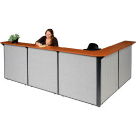 """L-Shaped Reception Station, 116""""W x 80""""D x 44""""H, Cherry Counter, Gray Panel"""
