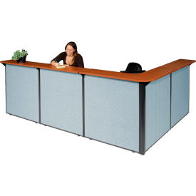 """L-Shaped Reception Station, 116""""W x 80""""D x 44""""H, Cherry Counter, Blue Panel"""