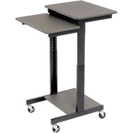 "Luxor 3-Shelf Adjustable Height Presentation Workstation, 24""W x 31""D x 39""- 45""H, Gray"
