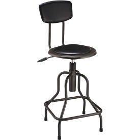 Interion™ Vinyl Industrial Stool With Backrest - Pneumatic Height Adjustment