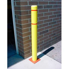 "4""x 64"" Bollard Cover - Yellow Cover/Red Tapes"