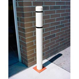 """4""""x 64"""" Bollard Cover - White Cover/Black Tapes"""