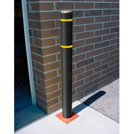 """4""""x 64"""" Bollard Cover - Black Cover/Yellow Tapes"""