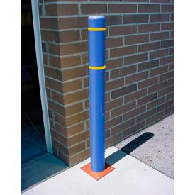 """7""""x 52"""" Bollard Cover - Blue Cover/Yellow Tapes"""