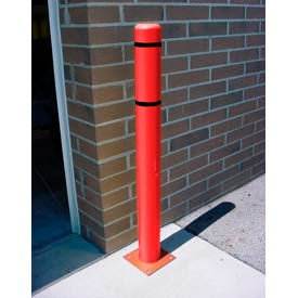 """8""""x 72"""" Bollard Cover - Red Cover/Black Tapes"""