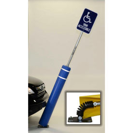 """52""""H FlexBollard™ with 8""""H Sign Post - Concrete Installation - Blue Cover/Yellow Tapes"""