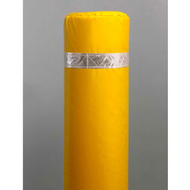 "40"" Soft Polyethylene Bollard Cover - Yellow Cover/White Tapes - Pkg Qty 6"