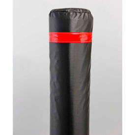 "40"" Soft Polyethylene Bollard Cover - Black Cover/Red Tapes - Pkg Qty 6"