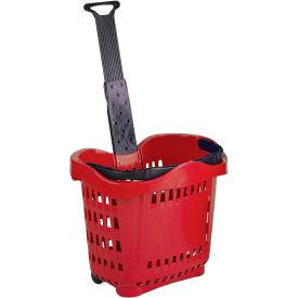 VersaCart ® Plastic Rolling Shopping Basket 43 Liter Red - Pkg Qty 6