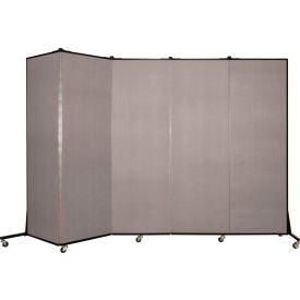 Screenflex 5 Panel Mobile Room Divider - Fabric Color: Light Gray