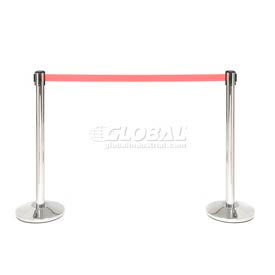 Polished Stainless Steel Crowd Control Stanchion With 7-1/2 Ft Red Belt - Pkg Qty 2