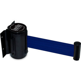 """Queueway Safety Crowd Control Retractable Wall Mount Barrier, Black With 7'6"""" Blue Belt"""