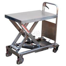 Vestil Stainless Steel Mobile Scissor Lift Table CART-1000-PSS 1000 Lb. Capacity