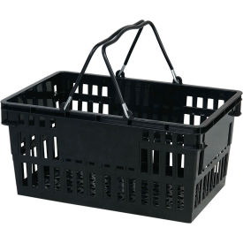 Black Plastic Basket 26 Liter with Black Plastic Grips Wire Handle
