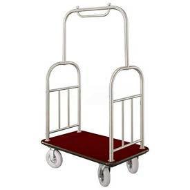 Glaro Ball Top Bellman Cart 48x25 Satin Aluminum Burgundy Carpet, 4 Pneumatic Wheels