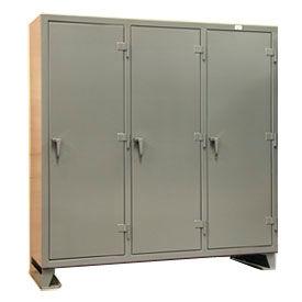 Strong Hold® Multi-Shift Personal Locker 66-MS-2415 - Single Tier 74x24x78 3 Door Gray