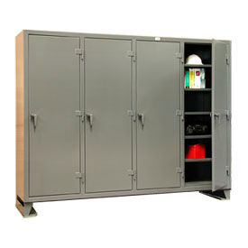 Strong Hold® Multi-Shift Personal Locker 86-MS-2420 - Single Tier 98x24x78 4 Door Gray