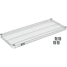 """Nexel S1424C Chrome Wire Shelf 24""""W x 14""""D with Clips"""