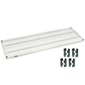 Nexelate Silver Epoxy Wire Shelf 72 x 24 with Clips