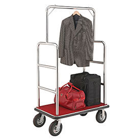 """Silver Stainless Steel Bellman Cart Straight Uprights 8"""" Pneumatic Casters"""