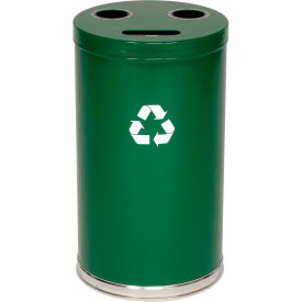 "3-In-1 Steel Recycling Container Green 18""Dia x 33""H"