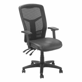 Mesh Task Chair - Leather Seat - High Back - Black